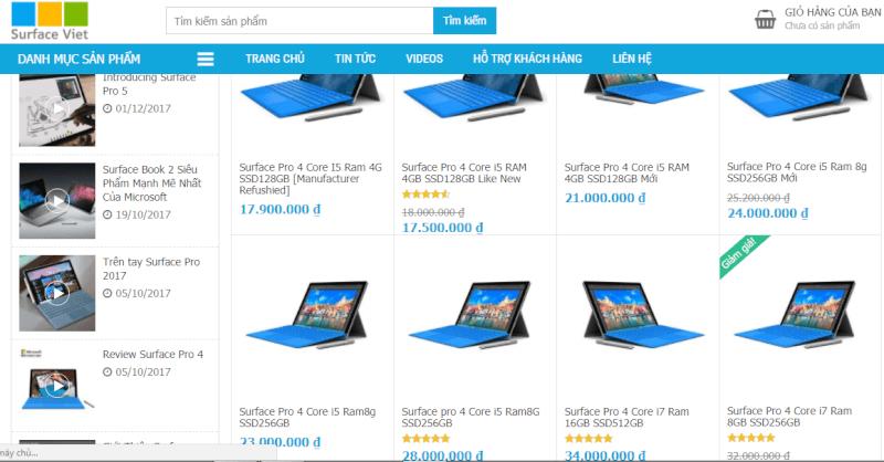 giá surface pro4 surface giá bao nhiêu