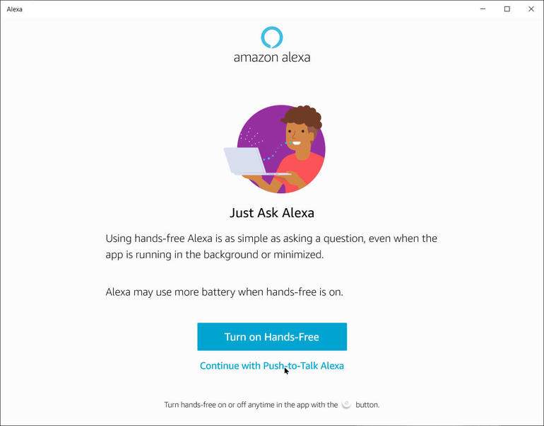ứng dụng Amazon Alexa trong Windows 10